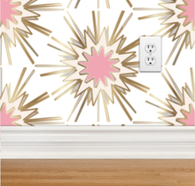 Load image into Gallery viewer, black gold pink cream wallpaper fabric powder room new trend art nouveau top fresh design similar to spark zoffany thistle rug vivienne westwood kelly wearstler style