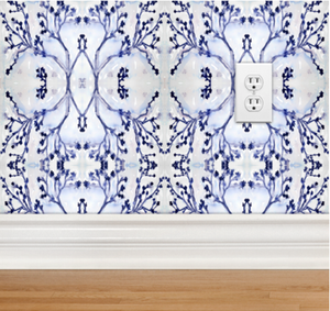indigo white wallpaper hand sketched painted design direct designer wallpaper border removable peel and stick bathroom powder room reno, flower wallpaper