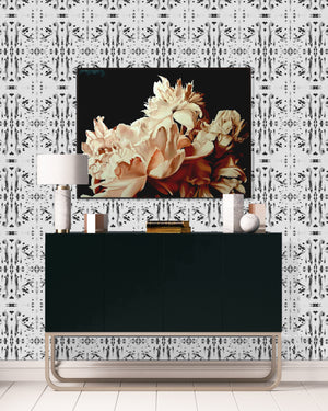 dark floral wallpaper, black white dot wallpaper hallway, hallway decor 2020, console table styling luxury interiors