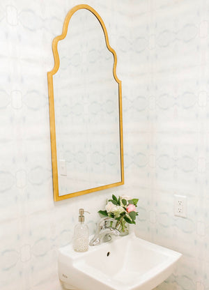 half bath wallpaper, paint color aqua bathroom, mist paint color, coastal wallpaper, spa wallpaper, brass mirror bathroom, jennifer latimer wallpaper, jll design llc wallpaper