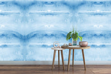 Load image into Gallery viewer, blue water mural, blue water decal, large watercolor mural, large watercolor wallpaper, accent wall wallpaper, large water accent wallpaper, blue watercolor wallpaper, blue watercolor mural