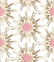 Load image into Gallery viewer, white pink gold cream wallpaper powder room new trend art nouveau top fresh design similar to spark zoffany thistle rug vivienne westwood kelly wearstler style girls room wallpaper gold wallpaper
