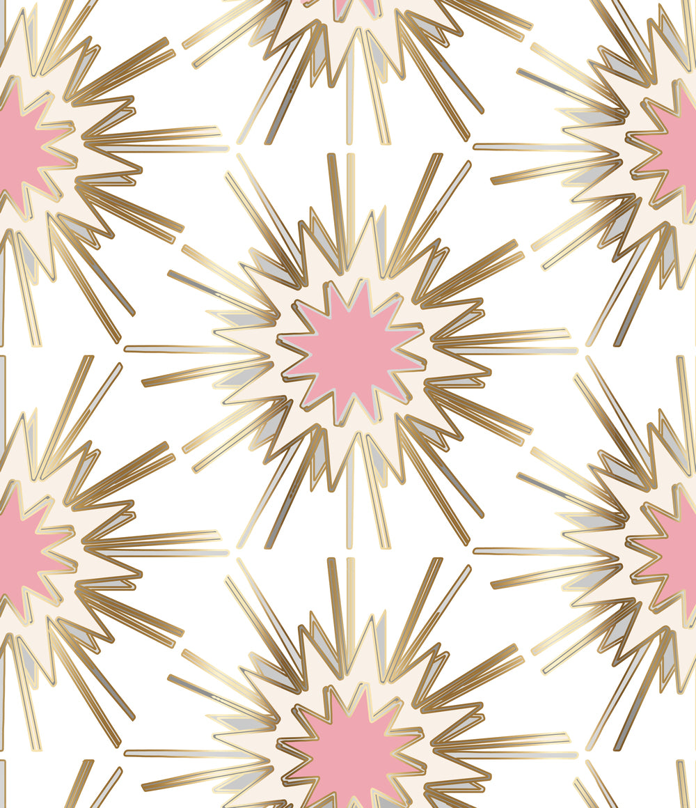 Load Image Into Gallery Viewer White Pink Gold Cream Wallpaper Powder Room New Trend Art