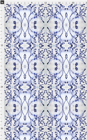 indigo white wallpaper hand sketched painted design direct designer wallpaper border removable peel and stick bathroom powder room photos inspiration ideas
