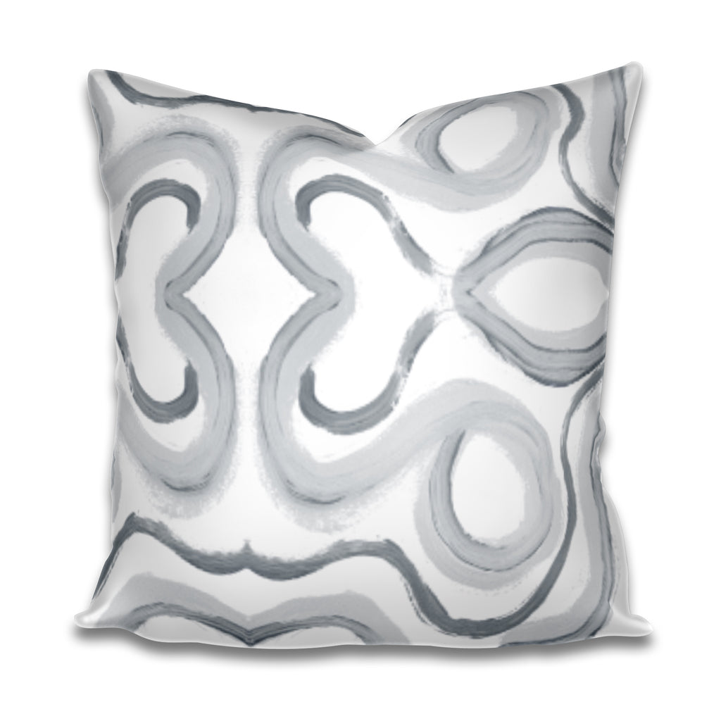 grey paint stroke pillow, grey paint stroke fabric, brush stroke pillow grey white