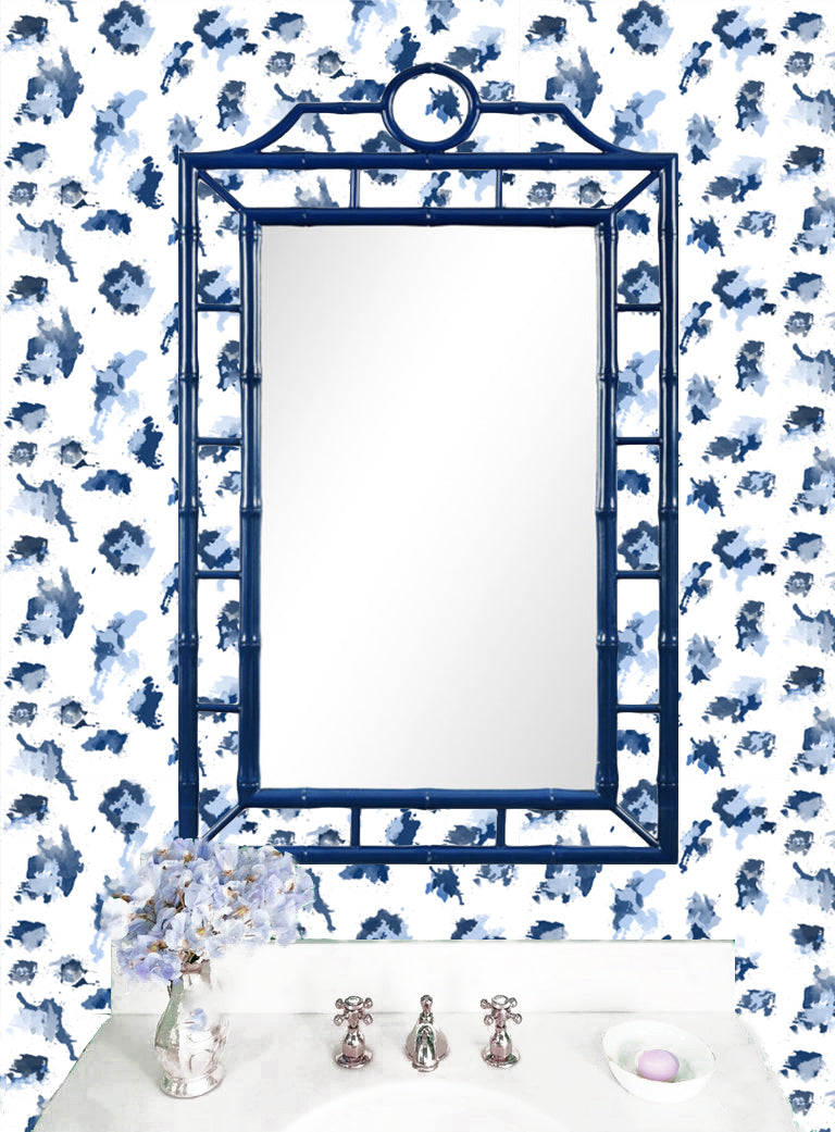 blue powder room, blue bamboo mirror, navy bamboo mirror, blue wicker mirror bathroom