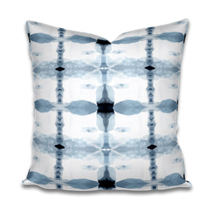 blue watercolor pillow, blue mid century modern pillow, blue tile pattern pillow, jlldesignllc pillow, jennifer latimer fabric pillow, porto pillow