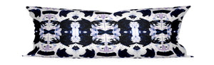 black violet pillow cover, painterly pillow cover black brush strokes, black and purple bed lumbar, long bed pillow black