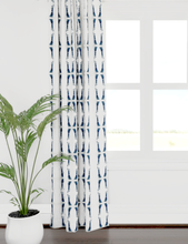 Load image into Gallery viewer, navy white contemporary curtains, navy white curtains, navy ikat curtains, dark blue curtains, navy white curtains, navy white stripe curtains
