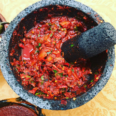 Mexico 1492 - rich, red salsa with chili guajillo and crunchy Maguey worms