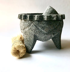 Mexico 1492 - Volcanic rock molcajete with a cleaning brush