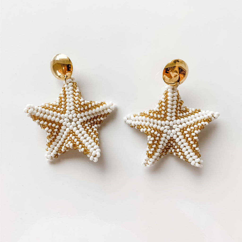 Starfish Drop Earrings in White