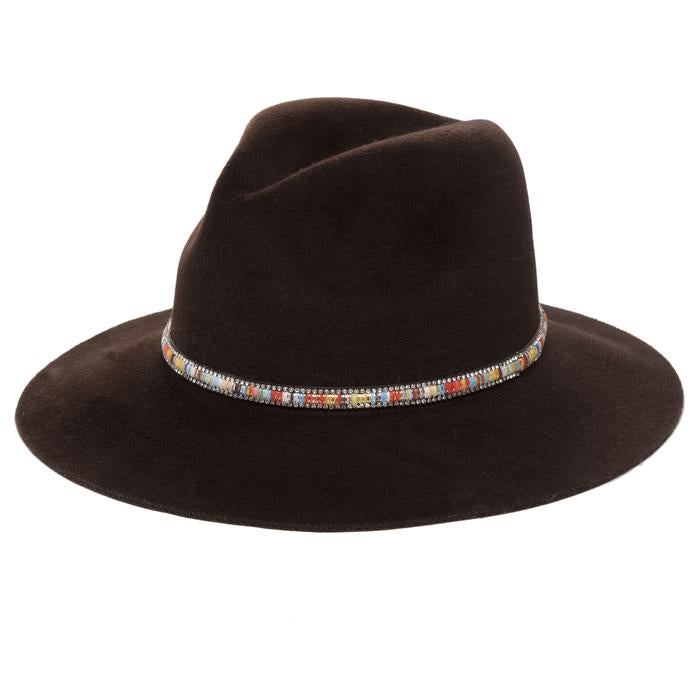 Santa Fe Brown Felt Hat with Sparkle Trim