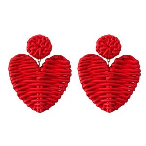 Red Rattan Heart Earrings