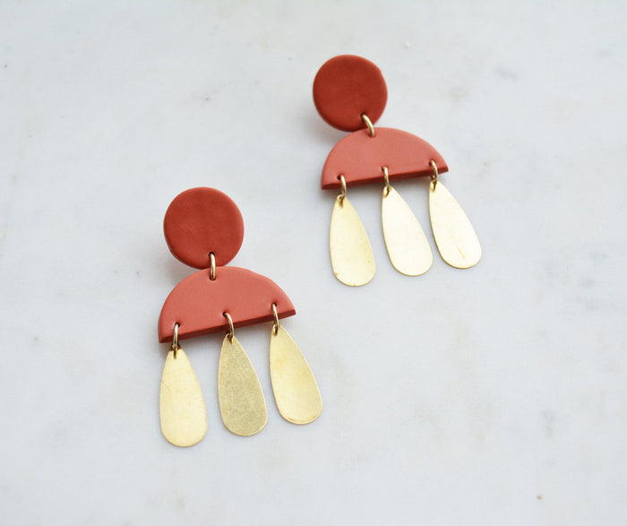 Tania Earring in Terra Cotta