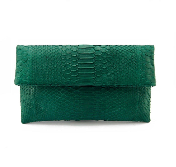 Hunter Green Python Clutch