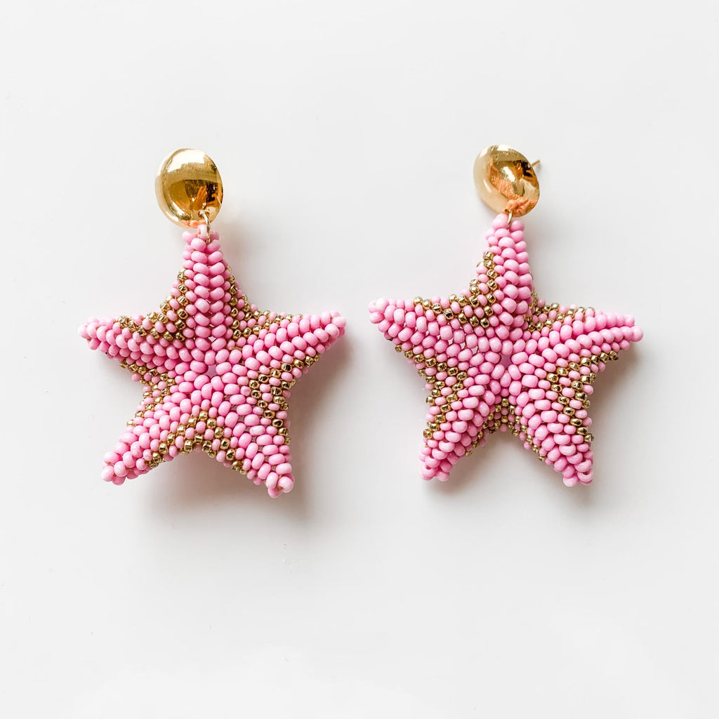 Starfish Drop Earrings in Pink