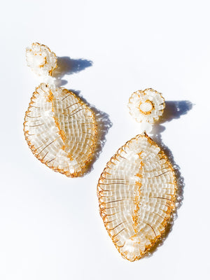 Leaf Earring in White