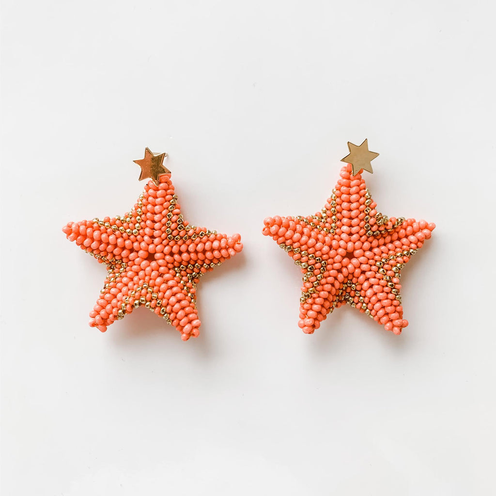 Starfish Drop Earrings in Coral