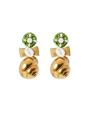 Shell and Bow Earring in Green