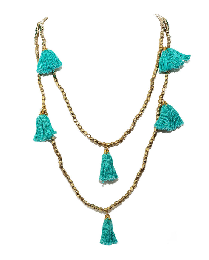 Turquoise Gold Tassel Necklace