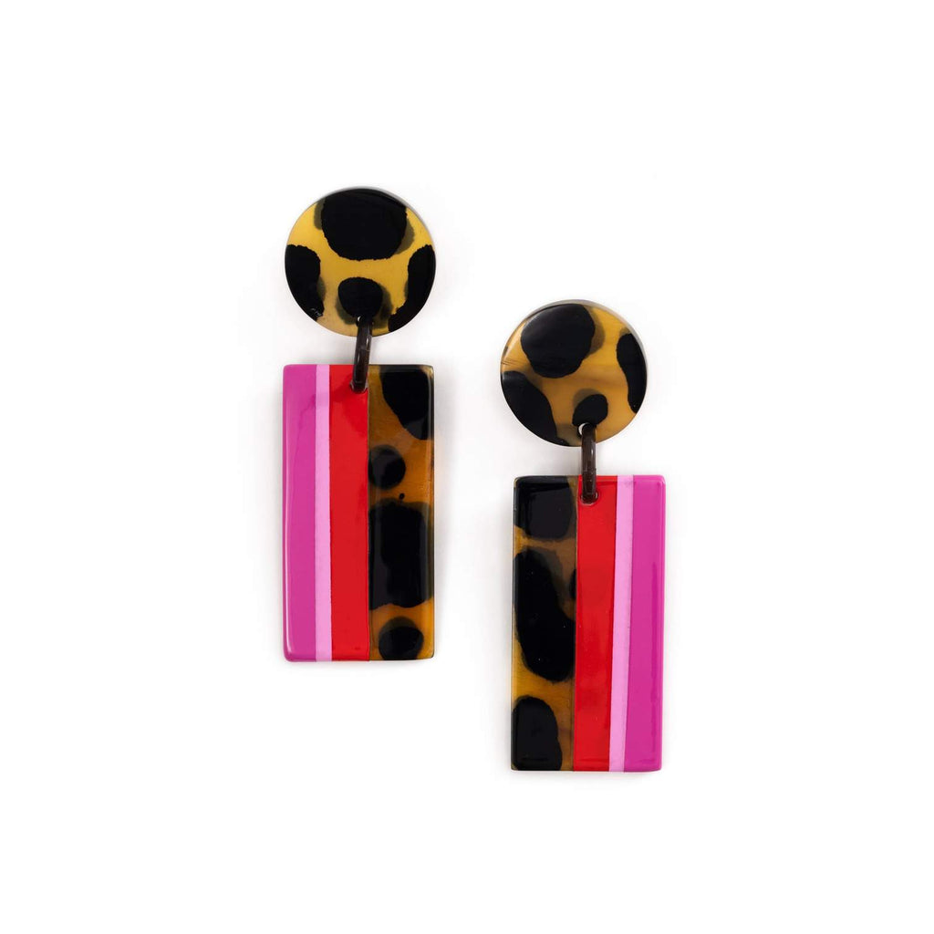 Pink Tortoise Statement Earrings