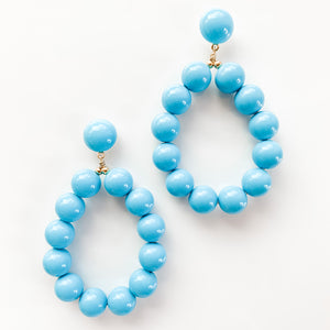 Turquoise Balls Hoop Earrings