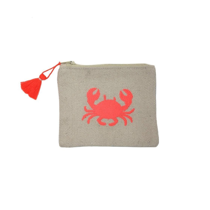 Porto Embroidered Coin Purse Crab