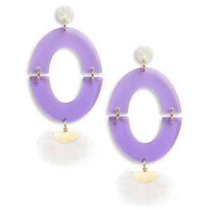 Game Day Earrings in Purple White