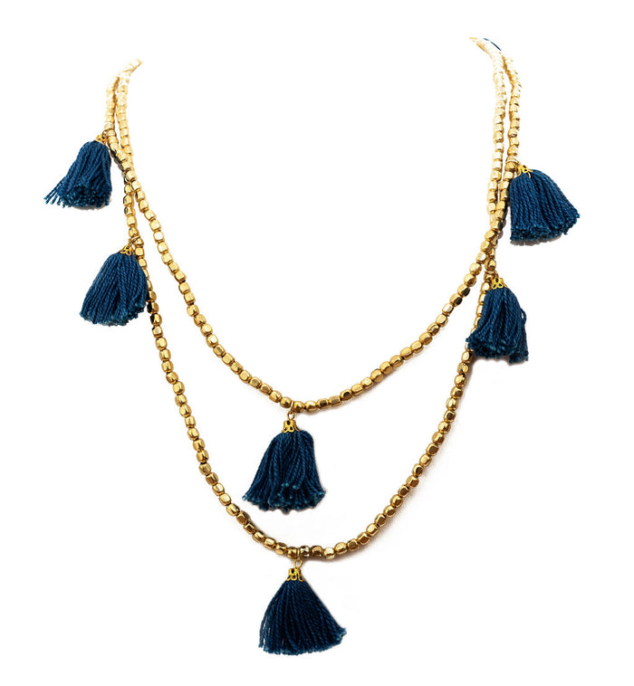 Navy Blue Gold Tassel Necklace