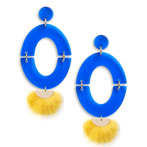 Game Day Earrings in Blue Gold