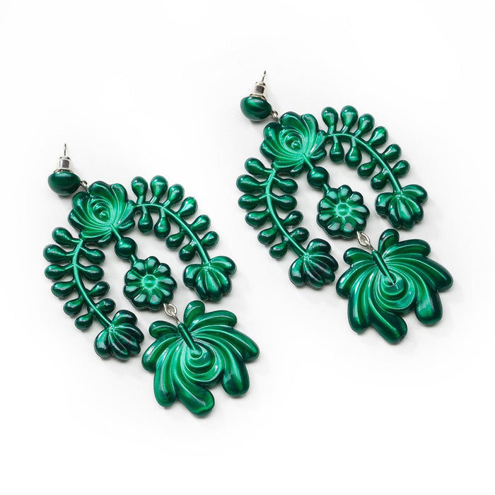 Metallic Green Garland Earring - sale