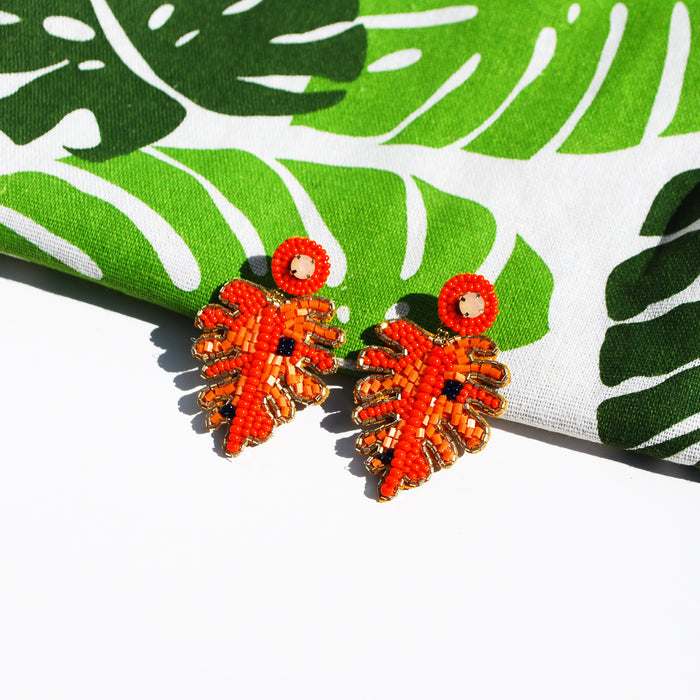 Orange Leaf Earrings