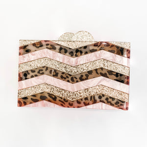 Glitter Gold, Leopard and Pink Acrylic Rectangle Clutch