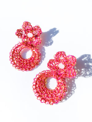 Flower Hoop Earring in Pink
