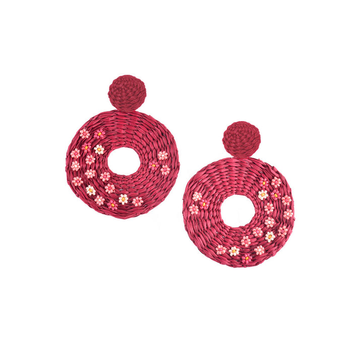 Flower Disk Earring in Burgundy