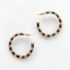 Small Gold/Black Bamboo Hoop Earrings