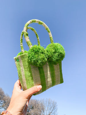Schooner Straw Mini Bag in Lime