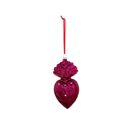 Sacred Hearts Ornament in Fuchsia