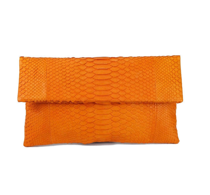 Orange Python Clutch