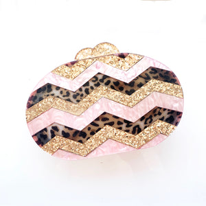 Glitter Gold, Leopard and Pink Acrylic Clutch
