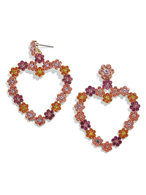 Magnolia Heart Earrings in Pink and Orange