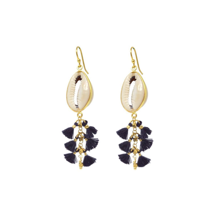 Isla Shell + Tassel Earring in Navy