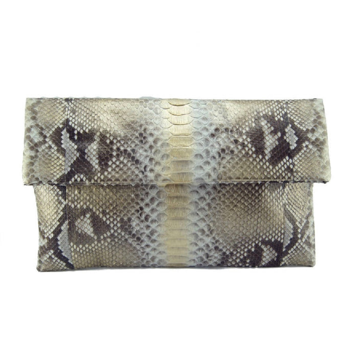 Gold and Silver Python Clutch