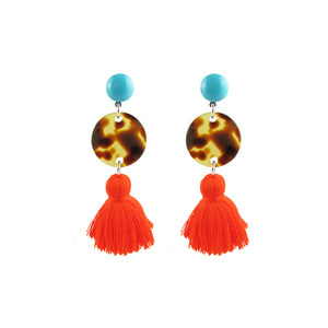 Tortoise Circle and Tassel Earrings