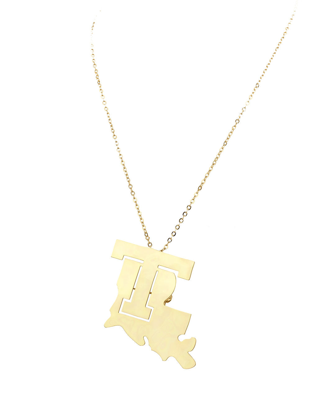 Louisiana Tech State T Necklace/Brooch Combo Gold