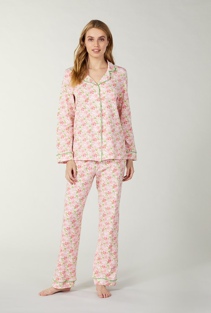 Flower Bed Stretch Long Sleeve Pajama Set