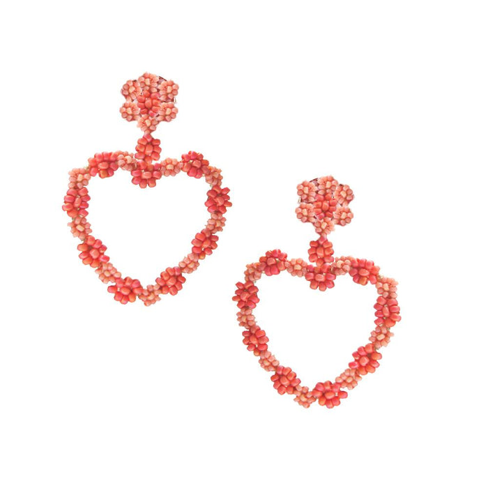Sublime Heart Earring in Pinks