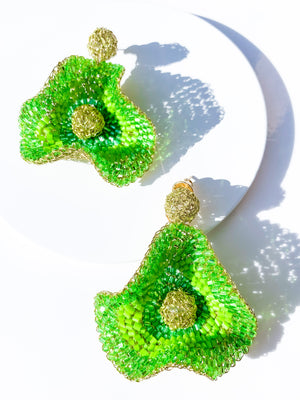 Large Buttercup Earring in Green