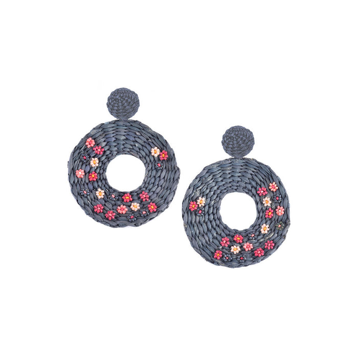 Flower Disk Earring in Navy
